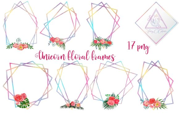 Print on Demand: Iridescent Floral Polygonal Frames Graphic Illustrations By fantasycliparts - Image 1