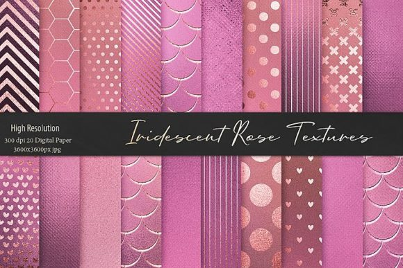Print on Demand: Iridescent Gold Pink Textures Graphic Patterns By Creative Paper - Image 1