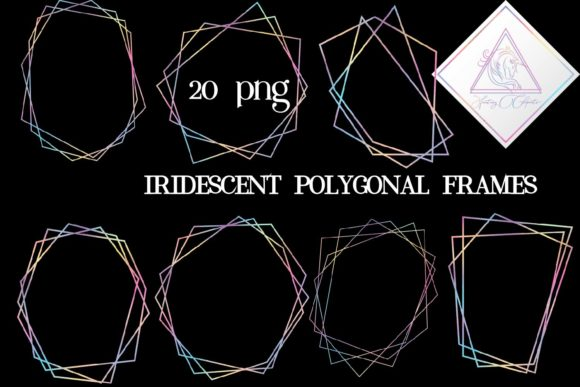 Print on Demand: Iridescent Polygonal Frames Graphic Illustrations By fantasycliparts