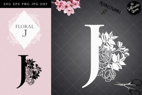 Download Free J Floral Letter Design Grafico Por Thesilhouettequeenshop for Cricut Explore, Silhouette and other cutting machines.