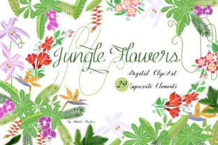 Jungle Clipart with Flowers Graphic By natalia.piacheva
