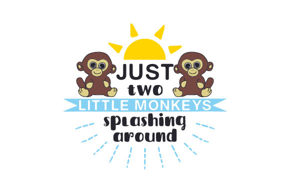 Just Two Little Monkeys Splashing Around Badezimmer Plotterdatei von Creative Fabrica Crafts