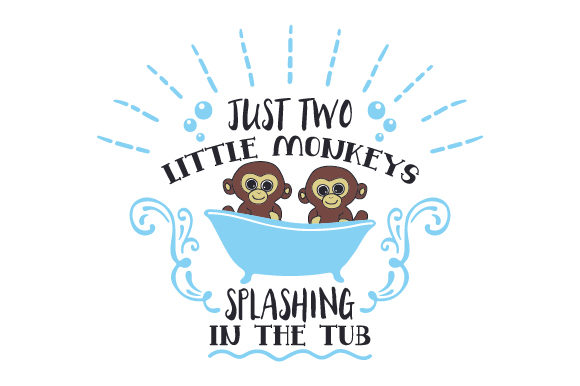 Just Two Little Monkeys Splashing in the Tub Badezimmer Plotterdatei von Creative Fabrica Crafts