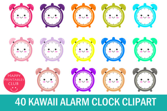 Print on Demand: Kawaii Alarm Clock Clipart Graphics Gráfico Ilustraciones Por Happy Printables Club