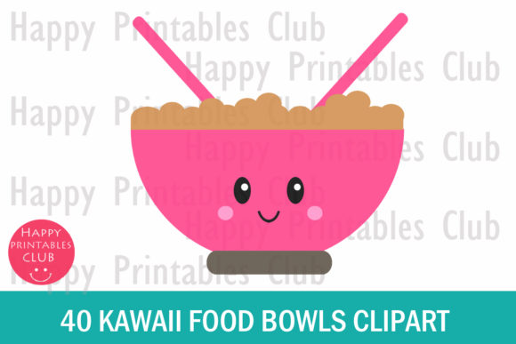 Print on Demand: Kawaii Breakfast Bowl Clipart Graphics Graphic Illustrations By Happy Printables Club - Image 2