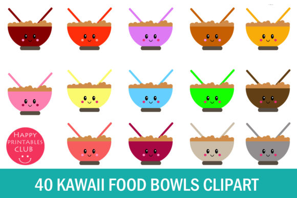 Print on Demand: Kawaii Breakfast Bowl Clipart Graphics Graphic Illustrations By Happy Printables Club