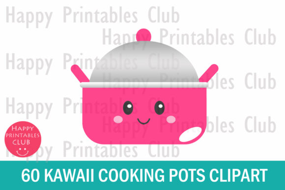 Print on Demand: Kawaii Cooking Pots Clipart Graphics Graphic Illustrations By Happy Printables Club - Image 2