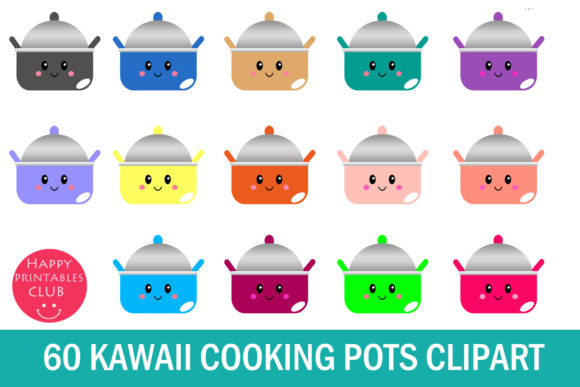 Print on Demand: Kawaii Cooking Pots Clipart Graphics Grafik Illustrationen von Happy Printables Club