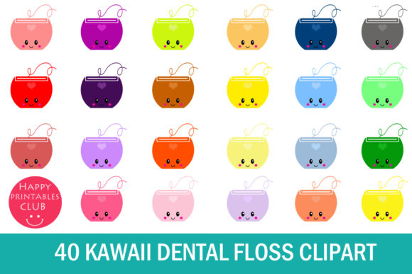 Print on Demand: Kawaii Dental Floss Clipart Graphics Graphic Illustrations By Happy Printables Club - Image 1