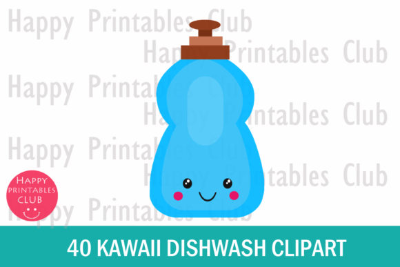 Print on Demand: Kawaii Dishwash Clipart Graphics Graphic Illustrations By Happy Printables Club - Image 2