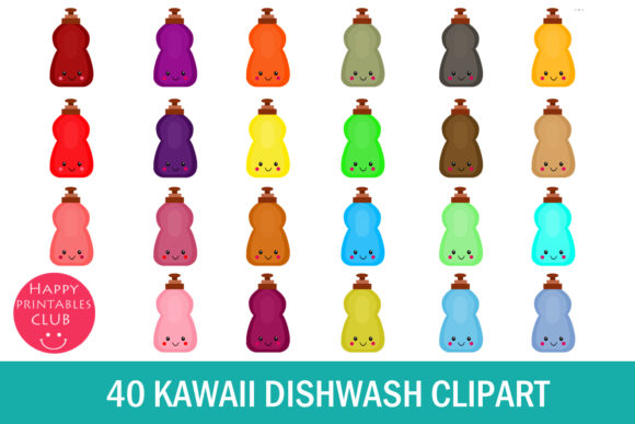 Print on Demand: Kawaii Dishwash Clipart Graphics Graphic Illustrations By Happy Printables Club