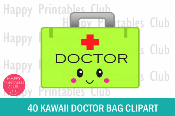 Print on Demand: Kawaii Doctor Bag Clipart Graphics Graphic Illustrations By Happy Printables Club - Image 2