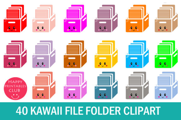Print on Demand: Kawaii File Folder Clipart Graphics Graphic Illustrations By Happy Printables Club