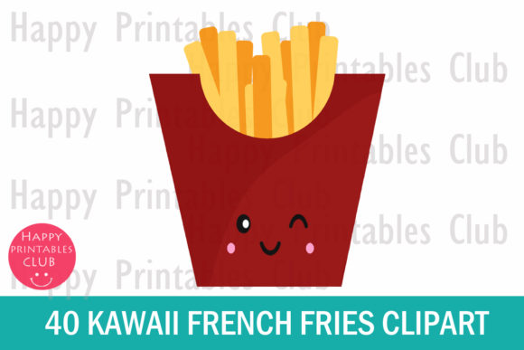 Print on Demand: Kawaii French Fries Clipart Graphics Graphic Illustrations By Happy Printables Club - Image 2