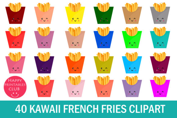 Print on Demand: Kawaii French Fries Clipart Graphics Graphic Illustrations By Happy Printables Club - Image 1