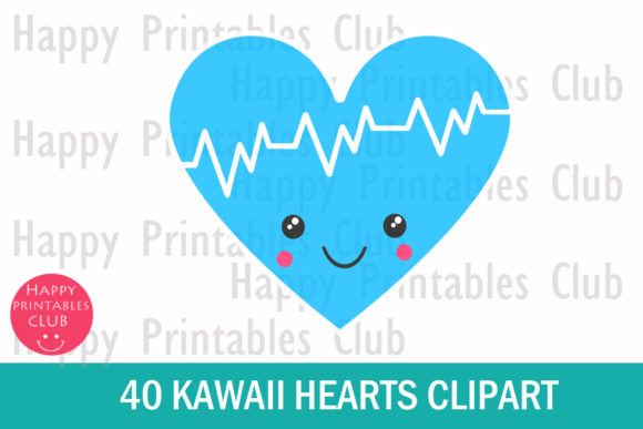 Download Free Kawaii Heart Clipart Cute Heart Graphics Graphic By Happy Printables Club Creative Fabrica for Cricut Explore, Silhouette and other cutting machines.