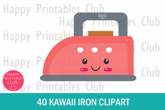 Print on Demand: Kawaii Iron Clipart Graphics Graphic Illustrations By Happy Printables Club - Image 2