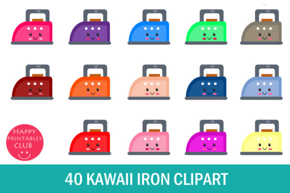 Print on Demand: Kawaii Iron Clipart Graphics Graphic Illustrations By Happy Printables Club
