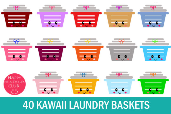 Print on Demand: Kawaii Laundry Basket Clipart-Laundry Graphic Illustrations By Happy Printables Club