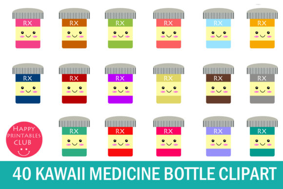 Print on Demand: Kawaii Medicine Bottle Clipart Graphics Gráfico Ilustraciones Por Happy Printables Club