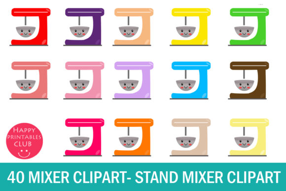 Print on Demand: Kawaii Mixer Clipart-Stand Mixer Clipart Grafik Illustrationen von Happy Printables Club