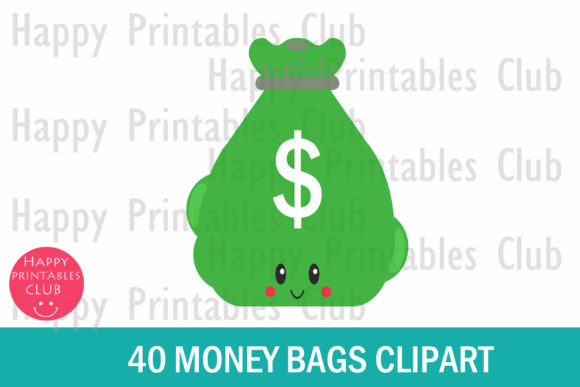 Download Free Kawaii Money Bag Clipart Graphics Graphic By Happy Printables for Cricut Explore, Silhouette and other cutting machines.