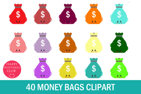 Print on Demand: Kawaii Money Bag Clipart Graphics Graphic Illustrations By Happy Printables Club