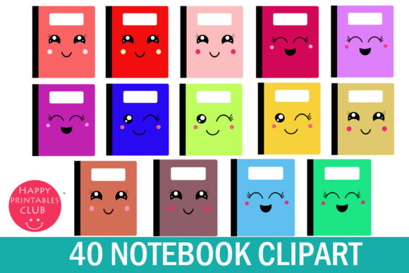 Print on Demand: Kawaii Notebook Cover Clipart Graphics Graphic Illustrations By Happy Printables Club - Image 2