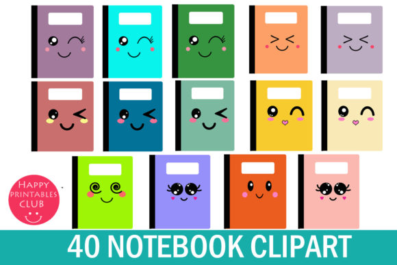 Print on Demand: Kawaii Notebook Cover Clipart Graphics Graphic Illustrations By Happy Printables Club - Image 1