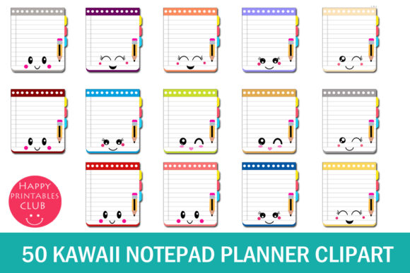 Print on Demand: Kawaii Notepad Planner Clipart Graphic Illustrations By Happy Printables Club