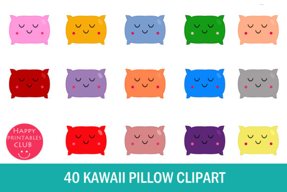 Print on Demand: Kawaii Pillow Clipart- Cute Pillow Graphic Illustrations By Happy Printables Club