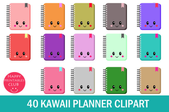 Print on Demand: Kawaii Planner Clipart- Kawaii Planner Graphic Illustrations By Happy Printables Club