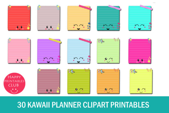Download Free Kawaii Planner Clipart Graphic By Happy Printables Club for Cricut Explore, Silhouette and other cutting machines.