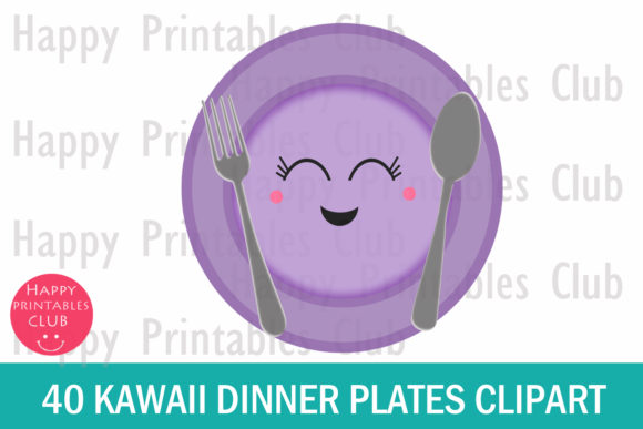Print on Demand: Kawaii Plates Clipart Graphic Illustrations By Happy Printables Club - Image 2