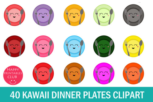 Print on Demand: Kawaii Plates Clipart Graphic Illustrations By Happy Printables Club