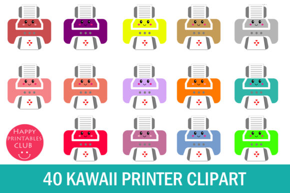 Print on Demand: Kawaii Printer Clipart - Cute Printer Graphic Illustrations By Happy Printables Club
