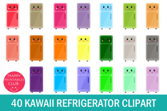Print on Demand: Kawaii Refrigerator Clipart- Cute Fridge Graphic Illustrations By Happy Printables Club
