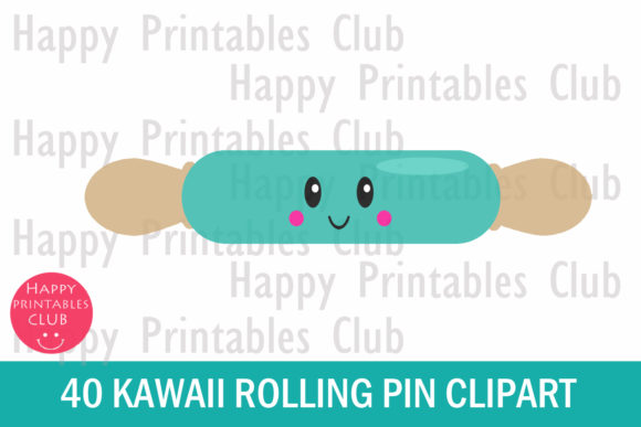Print on Demand: Kawaii Rolling Pin Clipart Graphics Graphic Illustrations By Happy Printables Club - Image 2
