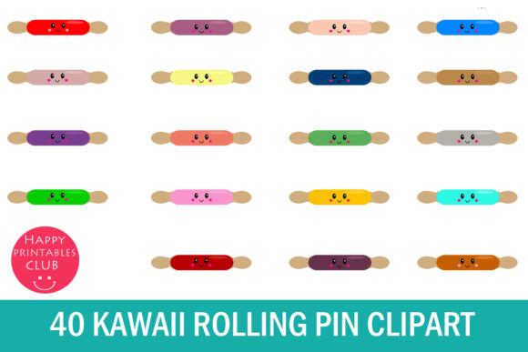 Print on Demand: Kawaii Rolling Pin Clipart Graphics Gráfico Ilustraciones Por Happy Printables Club