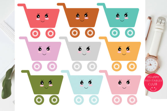 Print on Demand: Kawaii Shopping Cart Clipart Graphics Graphic Illustrations By Happy Printables Club - Image 2