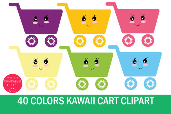 Print on Demand: Kawaii Shopping Cart Clipart Graphics Grafik Illustrationen von Happy Printables Club