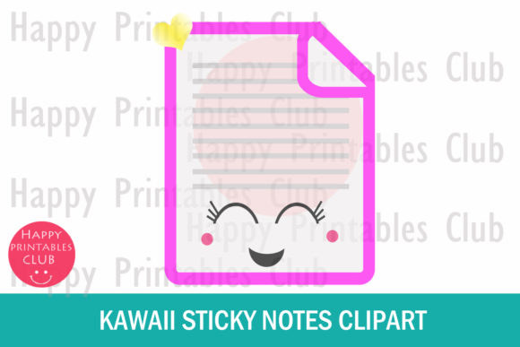 Download Free Kawaii Sticky Notes Clipart Graphics Graphic By Happy Printables for Cricut Explore, Silhouette and other cutting machines.