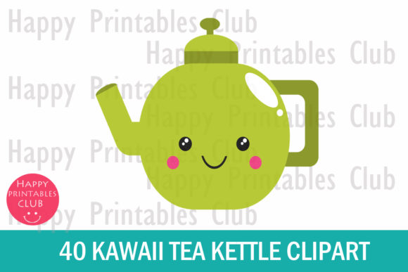 Print on Demand: Kawaii Tea Kettle Clipart- Cute Kettle Graphic Illustrations By Happy Printables Club - Image 2
