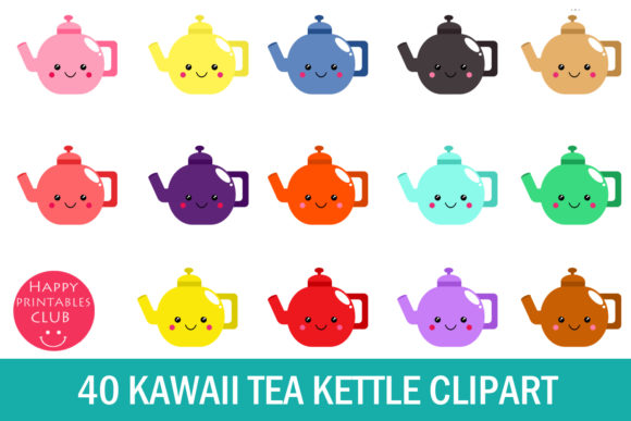 Print on Demand: Kawaii Tea Kettle Clipart- Cute Kettle Graphic Illustrations By Happy Printables Club - Image 1