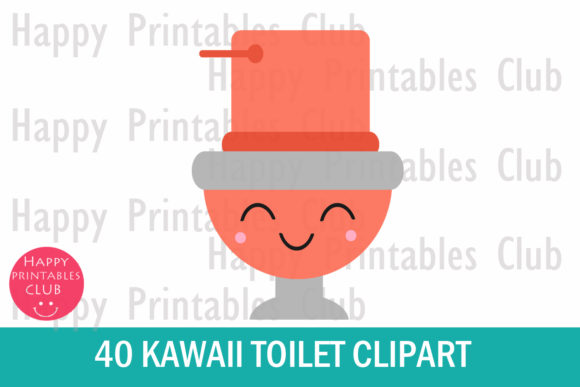 Download Free Kawaii Toilet Clipart Cute Kawaii Toilet Graphic By Happy for Cricut Explore, Silhouette and other cutting machines.