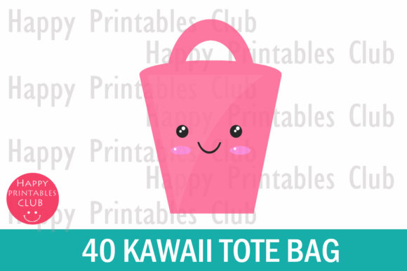 Print on Demand: Kawaii Tote Bag Clipart Graphic Illustrations By Happy Printables Club - Image 2