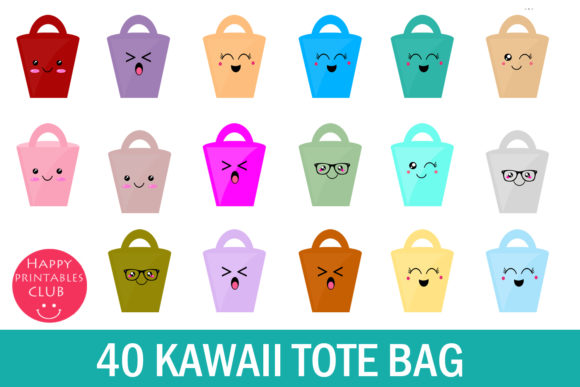 Print on Demand: Kawaii Tote Bag Clipart Graphic Illustrations By Happy Printables Club