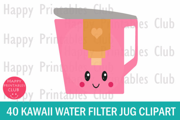 Print on Demand: Kawaii Water Filter Jug Clipart Graphics Graphic Illustrations By Happy Printables Club - Image 2