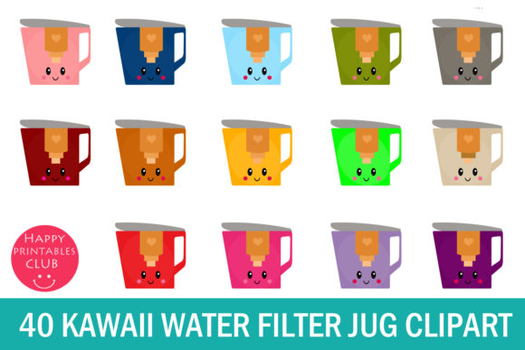 Print on Demand: Kawaii Water Filter Jug Clipart Graphics Graphic Illustrations By Happy Printables Club