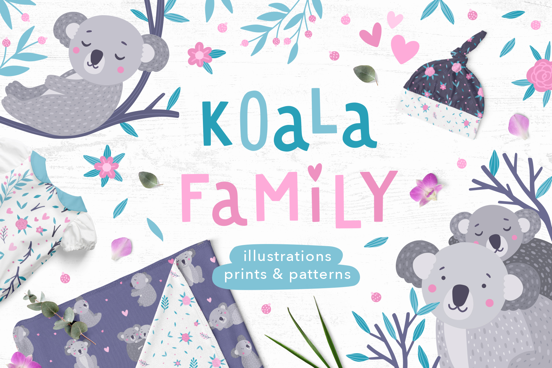 Download Free Koala Family Illustrations Graphic By Redchocolate Creative for Cricut Explore, Silhouette and other cutting machines.